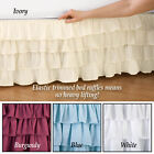 Elastic Bed Wrap Ruffle Bed Skirt Lilac, Light Blue, Tan/Gold