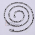 C7 16-36 inches Men Women's Stainless Steel Silver 3.5mm Rolo Box Necklace Chain