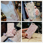 Bling Cute Diamond Crystal Neck Chain Flower Pattern Silicone Case For iPhone