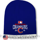 Chicago Cubs 2016 Champs Beanie Logo MLB Baseball Skull Cap Hat On Field Game
