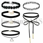 6pcs Vintage Gothic Women's Black Velvet Lace Choker Collar Punk Tattoo Necklace