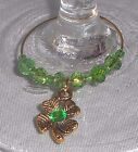 Rhinestone Gold Tone 4 Leaf Clover Shamrock St. Patrick's Day Wine Glass Charms