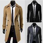 Herren Mantel Schwarz Business Jacke Sakko Wintermantel Lang Trenchcoat Outwear
