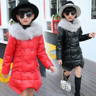Children Kids Girls PU Leather Down Cotton Coats Fur Collar Jacket Parka Outwear