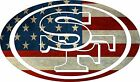 USA Vintage Flag 49ers Car Decal. Car Sticker. Outdoor and Indoor. Vinyl Decal.