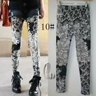 AU SELLER Sexy Punk Rockabilly Artsy Print Dance Leggings Skinny Pant p122-10
