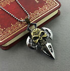 New Unisex's Stainless Steel Skull Cross Heads Chain Necklace Pendant Jewelry