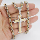 Men's Stainless Steel Gold Silver Box Byzantine Chain Necklace Cross Pendant 3K1