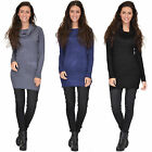 New Womens Roll Neck Fitted Stretch Knit Jumper Dress One Size fits UK 6 8 & 10