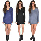 New Womens Long Sleeve Fitted Stretch Knit Jumper Dress One Size fits UK 6 8 10