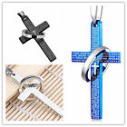 Hot Men's Punk Charm Stainless Steel Necklace Bible Cross Ring Pendant Unisex