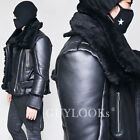 Belted Double Highneck Mens Full Lambskin Black Shearling Biker Jacket Guylook