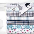 Bibb Home 100% Cotton Printed Flannel Sheet Set - Cozy, Soft, Deep Pocket Sheets image