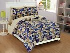 Fancy Linen  Camouflage Blue Beige Kids/Teens Comforter set New