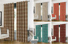 Luxurious Ring Top Eyelet Lined Plaid Check Ready Made Curtain Pair - 5 Colours