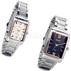 Luxury Stainless Steel Square Dial Mens Womens Couple Analog Quartz Wrist Watch image
