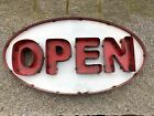 OPEN Big Oval Sign- Made with Reclaimed Metal- Painted Red and White