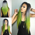100% Ombre Human Remy Hair 120Grams T1Bgreen Indian Remy Clip In Hair Extensions