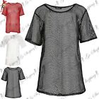 Womens Ladies Lace Crochet Short Sleeve Fishnet T Shirt Oversized Loose Fit Top
