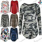 Womens Curved Hem Printed Baggy Top Ladies Oversized Round Neck T Shirt Dress