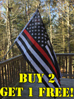 Thin Blue Red Line American Fire Fighter Flag 3X5 FADE Resistant Stars&Stripes