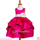 FUCHSIA/IVORY PAGEANT WEDDING PICK UP FLOWER GIRL DRESS 6M 12M 18M 2 4 6 8 10 12