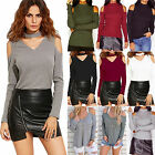 Womens Long Sleeve Blouse Off The Shoulder T-Shirt Long Sleeve Casual Slim Tops