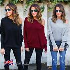 Womens Off Shoulder Long Sleeve Pullover Sweater Batwing Jumper Tops Size 6 - 14