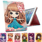 Cartoon Lovely Girl Flip Leather Smart Stand Case Cover For iPad 234/ Air / Mini