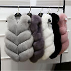 Lady Real Whole Fox Fur Vest Gilet Geunine Luxury New  Waistcoat Cute Sweater