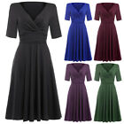 Vintage Short Sleeve Cocktail Prom Party V-neck Dress Swing 50s Retro Housewife