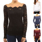 Plus Size S - 5XL Womens Long Sleeve Shirt Casual Lace Blouse Loose Tops Shirts