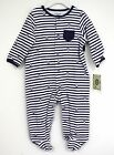 Little Me Outfit Navy Blue White Striped Sailboats 2 pc Hat New Infant footed