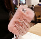 Bling Crystal Soft Warm Fluffy Rabbit Fur Ring Case Cover For iPhone 8 6S 7 Plus