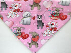 Pink Valentine's Day Dog over the collar Bandana, valentine dogs