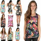 Womens Sleeveless Ladies Floral Print Stretchy Fit Bodycon Long Top Mini Dress