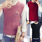 Winter Mens Pullover Knitted Jackets Vest Sweater Waistcoats Jumpers Outerwear