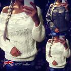 UK Womens Off Shoulder Long Sleeve Knitted Sweater Knitwear Jumper Tops Pullover