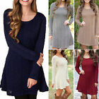 Womens  Mini Dress Ladies Long Sleeve Knit Sweater Party Casual Fashion