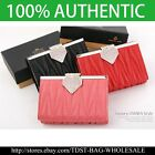 [OMNIA]Crystal Ladies Wallet Genuine Leather Trifold Purse ID Card Coins Bag387M image