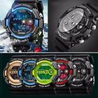Casual Mens Stainless Steel LED Digital Date Waterproof Sports Quartz Watch
