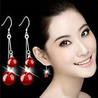 Womens 925 Sterling Silver 2 Natural Red Agate Long Drop/Dangle Hook Earrings