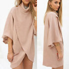 Women's Casual Loose Batwing Sleeve Tops Pullover Turtleneck Evening Party Dress