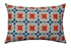 Blue Red Tan Outdoor Pillow, Saturnia Americana Geometric Outdoor Throw Pillow