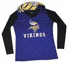 Nfl Womens Apparel-Minnesota Vikings Nfl Ladies Poly-Hooded Game-Day Team Shirt