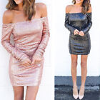 Off Shoulder Dress Casual Cocktail Party Clubwear Women's Long Sleeve Bodycon
