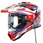 Snow Master TX-27 White Red Blue DS Snowmobile Helmet