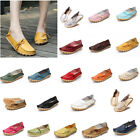 Womens Leather Shoes Loafers Driving Walking Moccasin Flat Comfort Large Size