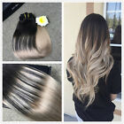 Ombre Balayage Remy Hair Ash Blonde Clip in Human Hair Extensions Double Wefted