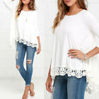 2017 Women Long Sleeve Shirt Casual Lace Floral Blouse Loose Tops T-Shirt White